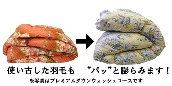使い古した羽毛布団もぱっと膨らみます。